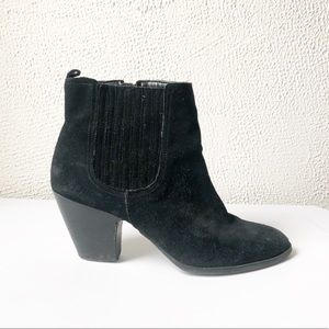 Nine West | Black Suede Heeled Ankle Booties 8.5